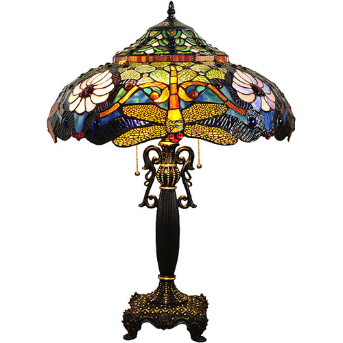 Tiffany-style Bronze Dragonfly Table Lamp