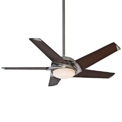 Stealth DC LED Ceiling Fan [Fan Body and Blade Finish : Brushed Nickel with Walnut Veneer Blades]