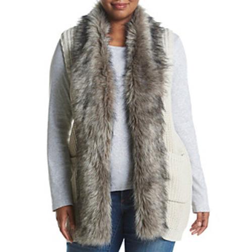Jessica Simpson Plus SIze Faux Fur Trim Sweater Vest