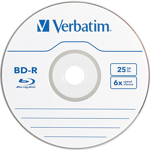 Verbatim BD-R 25GB 6X Blu-ray Recordable Media Disc - 10 Pack Spindle [10pk, Spindle Box]