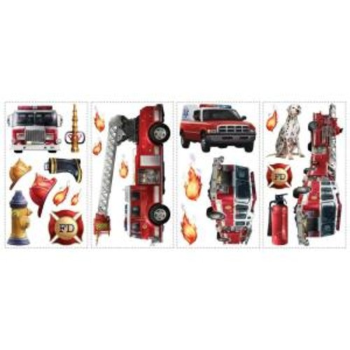 10 in. x 18 in. Fire Brigade 22-Piece Peel and Stick Wall Decals