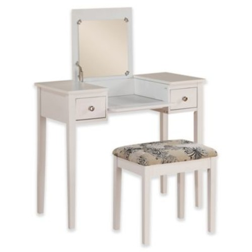 Linon Home Folding-Top 2-Piece Vanity Set with Butterfly-Print Bench in White