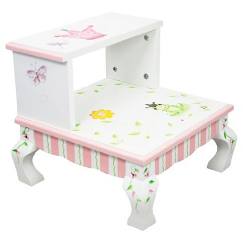 Teamson Kids Girls Step Stool - Princess & Frog Room Collection