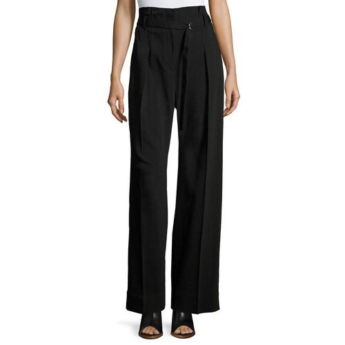 3.1 PHILLIP LIM Paper Bag High-Waist Wide-Leg Pants, Black