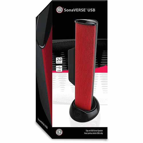 GOgroove SonaVERSE USB Computer Speaker with Clip-on Design and Universal USB Power for Laptop and Desktop Computers, Red