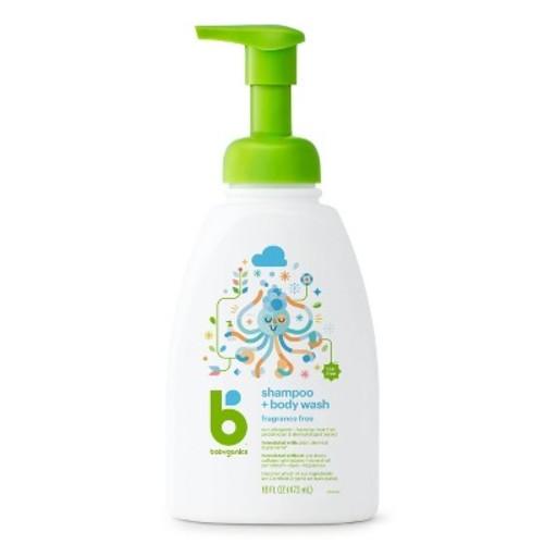 Babyganics Baby Shampoo + Body Wash, Fragrance Free - 16oz Pump Bottle