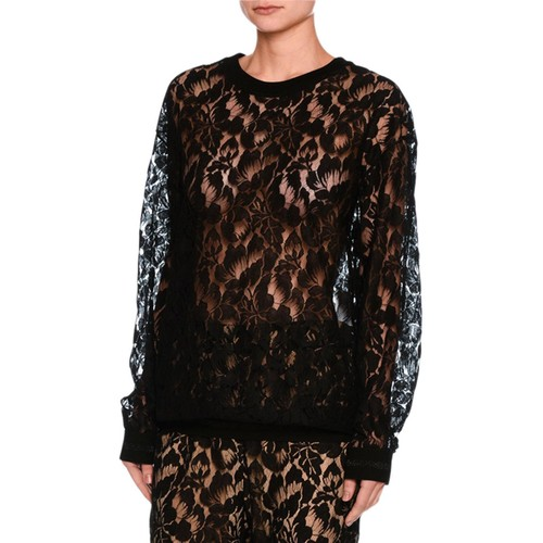 STELLA MCCARTNEY Ines Floral Lace Sweatshirt, Black