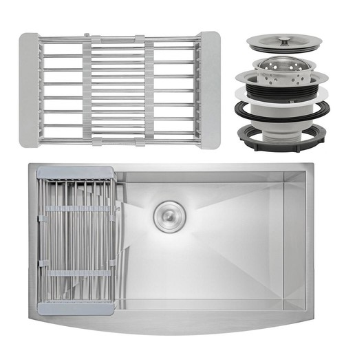 AKDY Handcrafted All-in-One Apron-Front Stainless Steel 33 in. Single Bowl Kitchen Sink with Tray and Drain