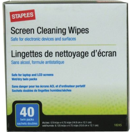 Staples Screen Cleaning Wipes 40/Twin Pack (18245)