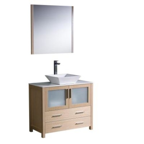 Fresca Torino 36 in. Vanity in Light Oak with Glass Stone Vanity Top in White with White Basin and Mirror