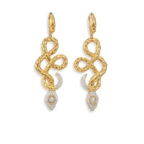 Legends Cobra Diamond & 18K Yellow Gold Drop Earrings