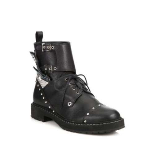 FENDI Rockerchic Studded Leather Combat Booties