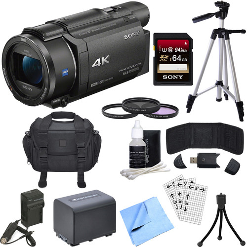 Sony FDR-AX53/B 4K Handycam Camcorder with Exmor R CMOS Sensor Bundle