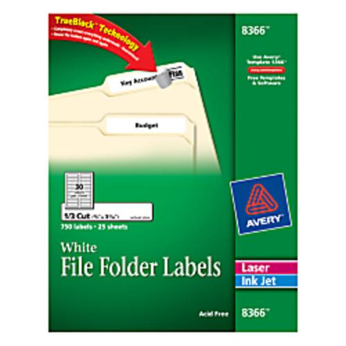 Avery TrueBlock Permanent File Folder Labels, 2/3