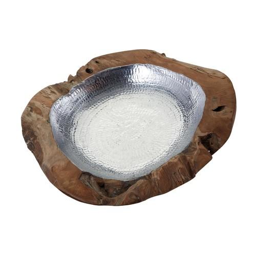 Titan Lighting Large Round Teak Bowl with Aluminum