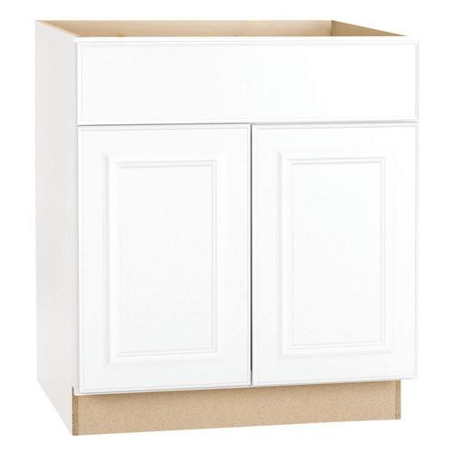 Hampton Bay Hampton Assembled 36 x 34.5 x 21 in. Base Bath Vanity Cabinet in Satin White