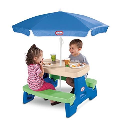 Little Tikes Easy Store Junior Picnic Table with Umbrella, Blue/Green [Multi]