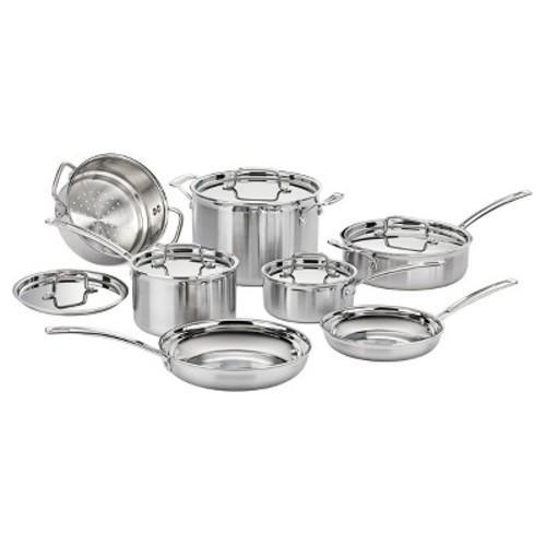 Cuisinart Multiclad Pro Triple Ply Stainless Steel 12 Piece Cookware Set - MCP-12N