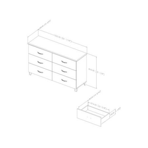 South Shore Lazer 6-Drawer Dresser, Black Onyx