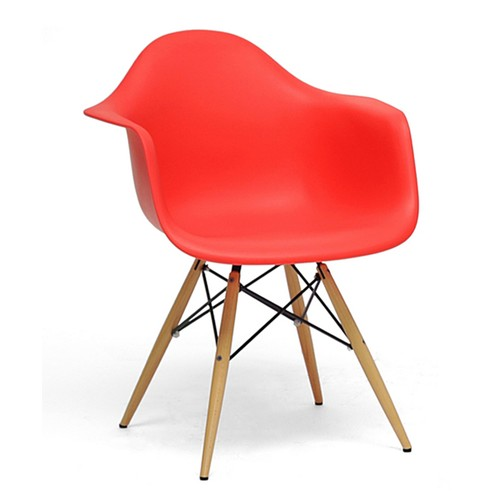 Pascal Red plastic Mid-Century Modern Shell Chair Set of 2