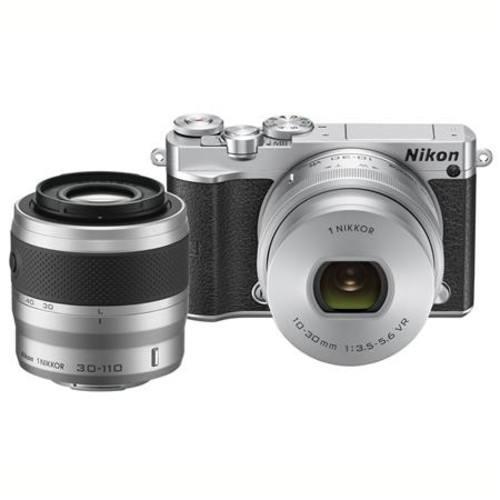 Nikon 1 J5 Mirrorless with 10-30mm and 30-110mm VR Lenses, Silver 27713