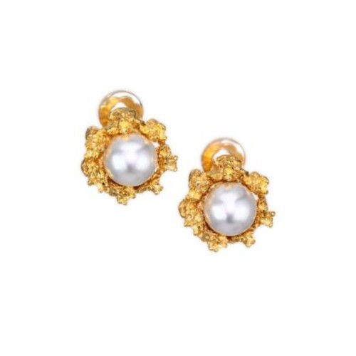 12MM Round Simulated Faux Pearl Stud Earrings