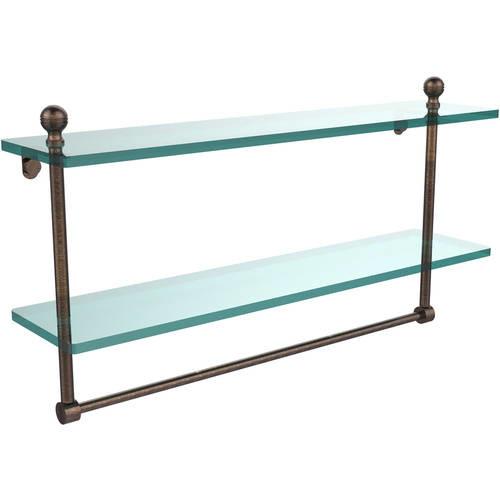 Allied Brass Mambo 22 in. L x 12 in. H x 5 in. W 2-Tier Clear Glass Bathroom Shelf with Towel Bar in Venetian Bronze
