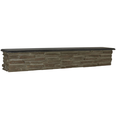 Household Essentials Black and Grey Faux-stone 45-inch Decorative Wall Shelf
