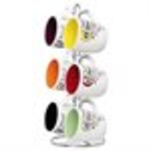 Home Basics 6-Piece Mug Set with Stand