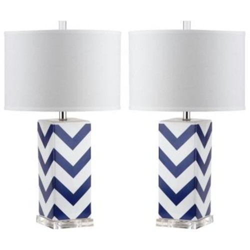 Safavieh Chevron 27 in. Navy Stripe Table Lamp (Set of 2)