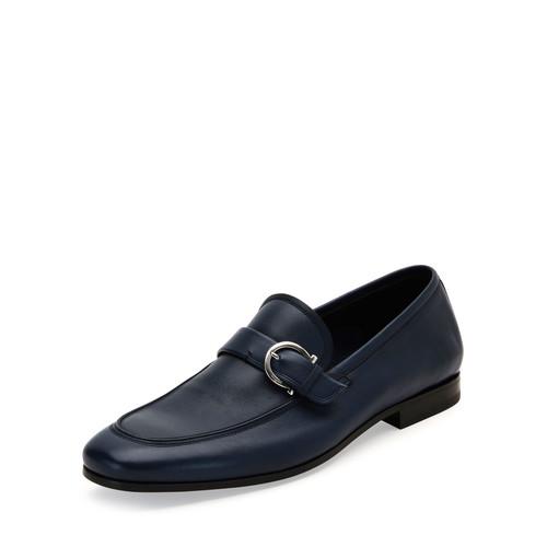 SALVATORE FERRAGAMO Faruk Soft Calfskin Side-Gancio Loafer, Blue Marine