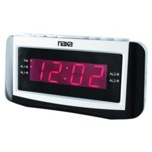 Naxa NRC-171 PLL Digital Alarm Clock with AM-FM Radio Snooze and Large LED Display