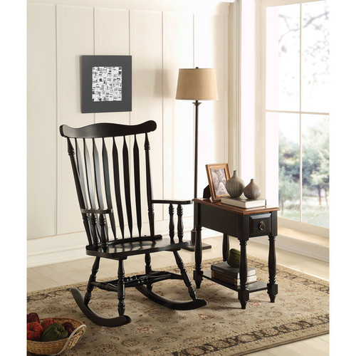 Kloris Black Rubberwood Rocking Chair