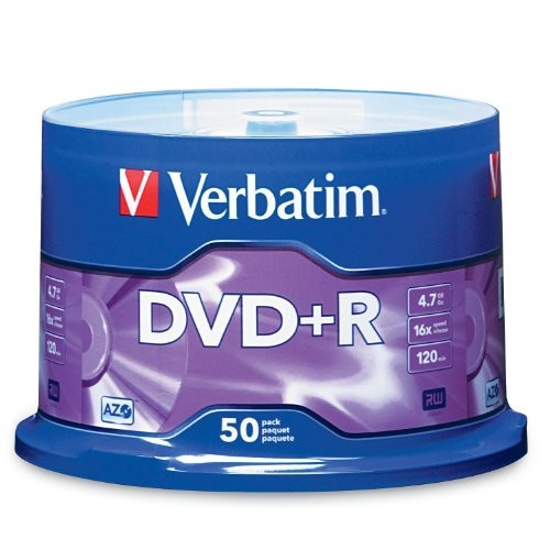 Verbatim 4.7GB up to16x Branded Recordable Disc DVD+R - 50 Disc Spindle 95037 [Standard Packaging, 50-Disc]