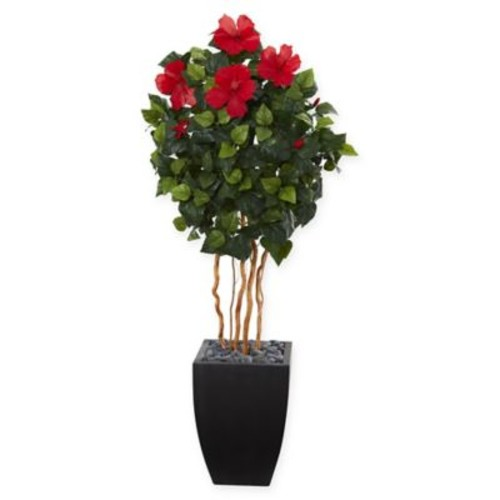Nearly Natural Hibiscus Artificial Tree with Black Tower Planter