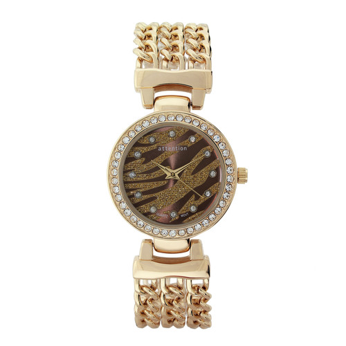 Attention Ladies Gold Chain Link Bracelet Watch