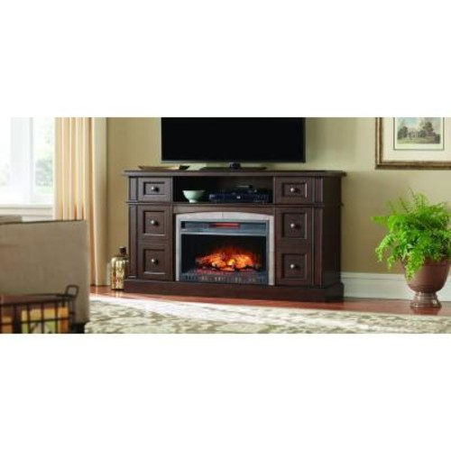 Home Decorators Collection Bellevue Park 59 in. Media Console Infrared Electric Fireplace in Dark Brown Cherry Finish