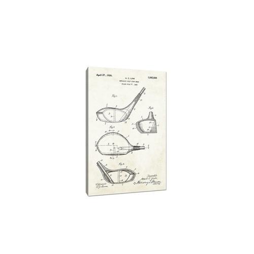 Golf Club Head Canvas (Aged Paper) - Sports Patents - 30x20 Canvas
