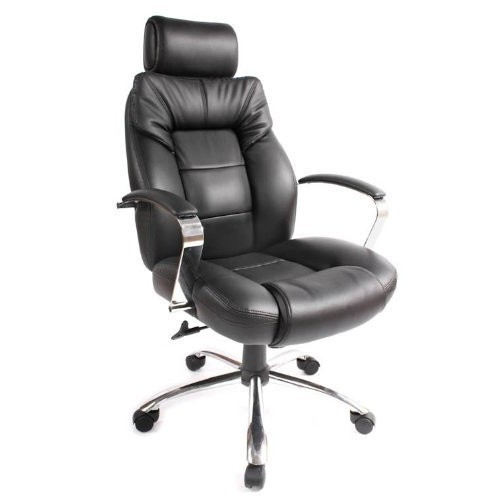 Comfort Products 60-5800T Commodore II Oversize Leather Chair with Adjustable Headrest, Black [Black]