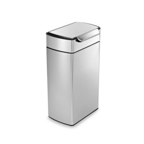 simplehuman Brushed Stainless Steel Fingerprint-Proof Rectangular 40-Liter Touch Bar Trash Can
