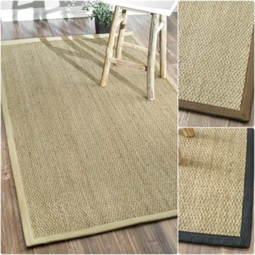 nuLOOM Handmade Natural Fiber Cotton Border Seagrass Beige Rug (6' x 9')