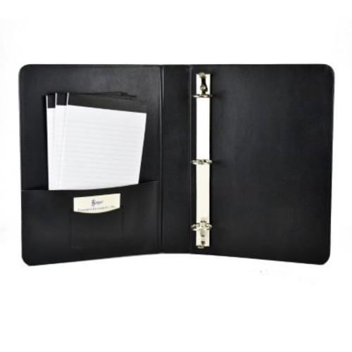 Royce Leather 1 Inch Ring Binder, Black
