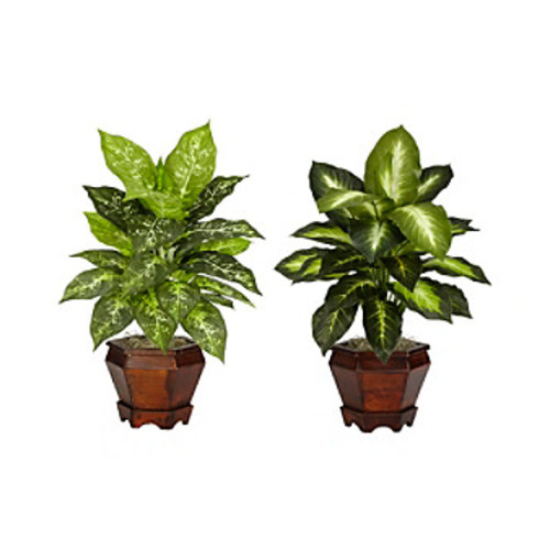 Nearly Natural Dieffenbachia with Wood Vase Silk Plant (Set of 2)