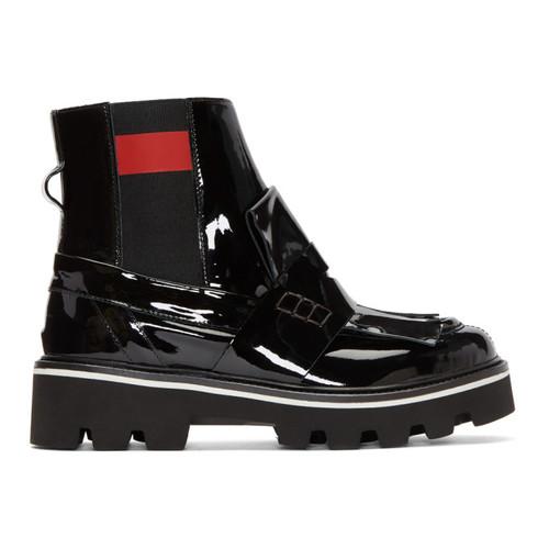 Black Patent Fringe Chelsea Boots