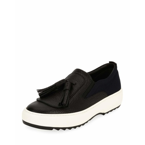 SALVATORE FERRAGAMO Lucca 7 Leather Sneaker With Oversized Tassels On Archival Sawtooth Sole, Black (Nero)