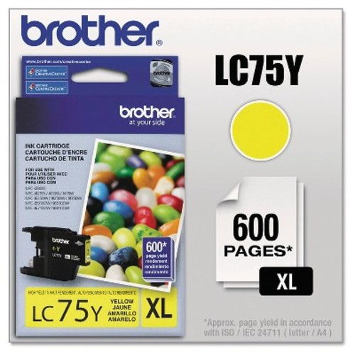 Brother Lc75Y (Lc-75Y) Innobella High-Yield Ink, 600 Page-Yield, Yellow, Case of 2
