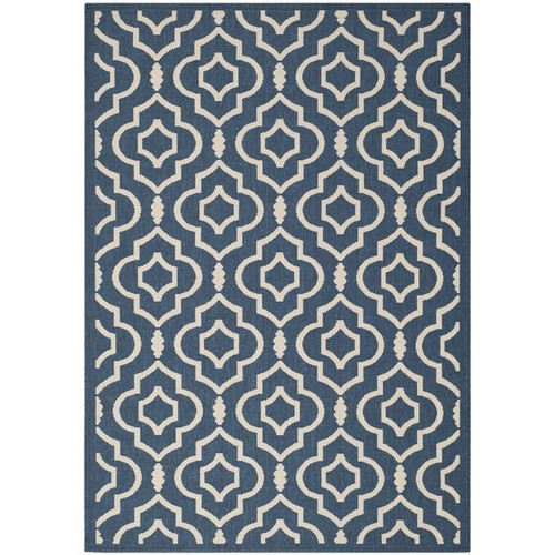 Safavieh Geometric Indoor/Outdoor Courtyard Navy/Beige Rug (8' x 11')