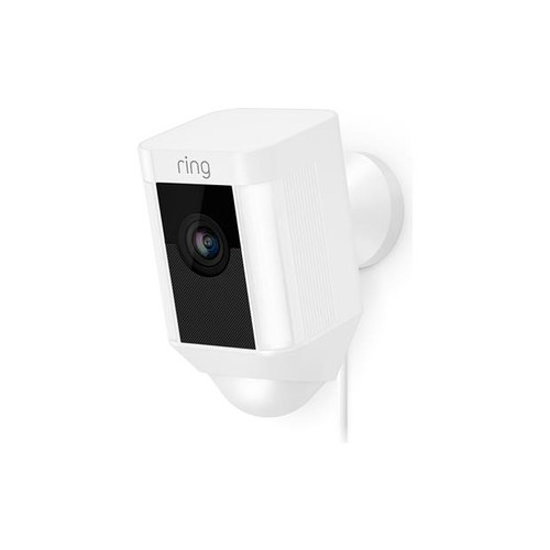 Ring Spotlight Cam Wired (White) Plug-in security camera with LED spotlights and siren