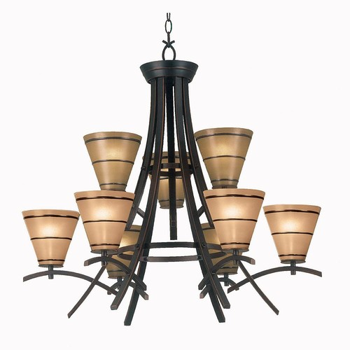 Kenroy Home Wright 9-Light Oil Rubbed Bronze Chandelier with Amber Glass Shade