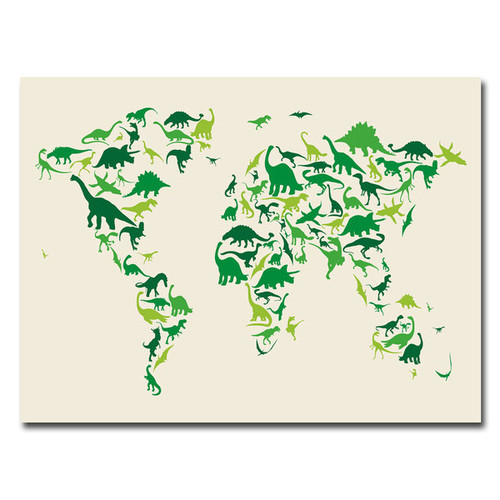 Michael Tompsett 'Dinosaur World Map' Medium Canvas Art
